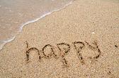 šťastný slovo napsané na písečné pláži — Stock fotografie