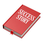 Isolated red book with success story — Stock Photo
