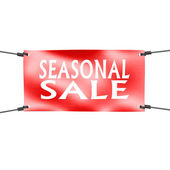 Banner seasonal sale with four ropes on the corner — Stock Photo