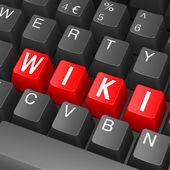 Black keyboard with wiki word — Stock Photo
