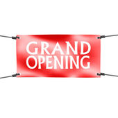 Banner grand opening with four ropes on the corner — Stok fotoğraf