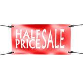 Baner połowę ceny sprzedaży z czterech linach na rogu — Zdjęcie stockowe