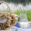 Stock Photo: Breakfast by river