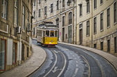 A typical Lisbon yellow tram — Stock Photo