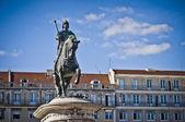 Praça da Figueira, Statua equestre di Giovanni I del Portogallo — Stockfoto