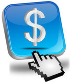 Button with Dollar sign with Cursor — Stock Photo