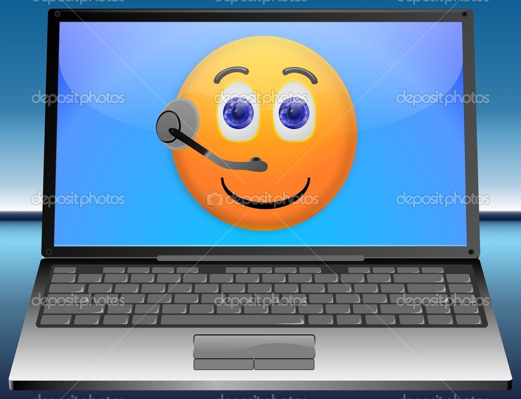 Laptop Service Hotline with smiley and headset — Stock Photo #12731103