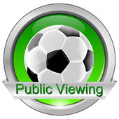 Button Public Viewing with Soccer ball — Stockfoto
