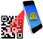 Smartphone scanning QR-Code — Stock Photo