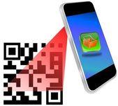 Smartphone scanning QR-Code — Stock Photo