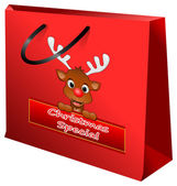 Shopping bag Christmas special with reindeer — Stock Photo