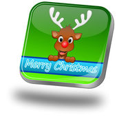 Reindeer wishing Merry Christmas Button — Stock fotografie