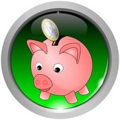 Button with piggy bank icon — Stock Photo
