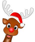 Renna con cappello santa augurando Buon Natale — Foto Stock