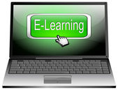 Laptop with E-Learning button — Stock Photo