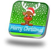 Ren geyiği dilek merry christmas düğmesi — Foto de Stock