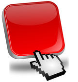 Red blank Button with cursor — Stock Photo