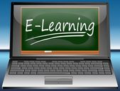 Laptop with E-Learning — Stock Photo