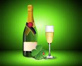 New Year Card with Champagne shamrock and ladybug — Stock Photo