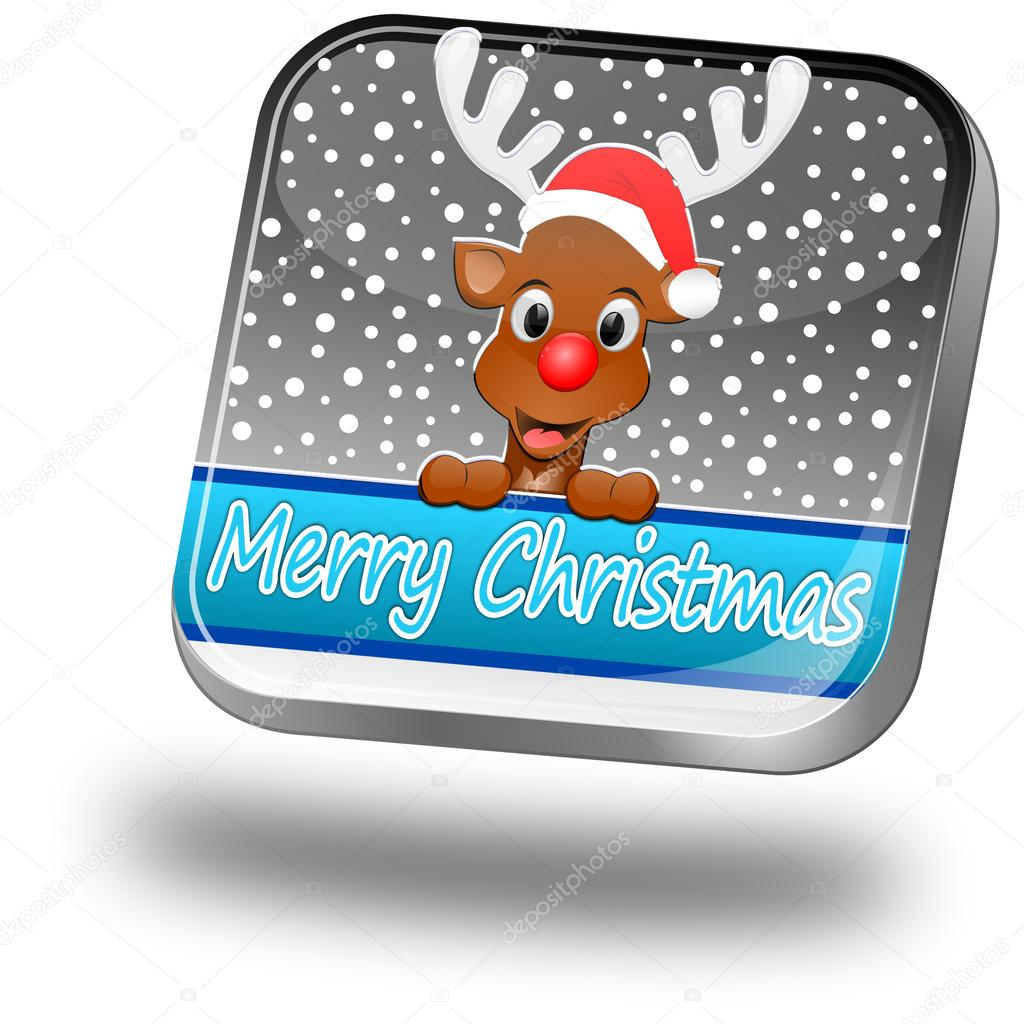 Reindeer wishing merry christmas button on silver background — Stock Photo #17149201