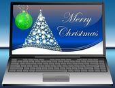 笔记本电脑与快乐圣诞贺卡 — 图库照片