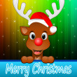 Stock Photo: Reindeer with santhat wishing Merry Christmas