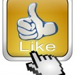 Thumb up Button with Cursor — Stock Photo