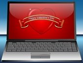 Laptop with Valentine's Day Greeting card Happy Valentine's Day — Foto de Stock