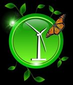 Green eco Button with a wind turbine with leaves and a butterfly — Stock Photo
