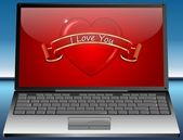 Laptop with Valentine's Day Greeting card I Love You — Stock Photo