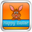 Easter bunny wishing happy easter button — Stock Photo