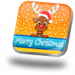 Stock Photo: Reindeer wishing Merry Christmas Button