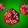 Falling red cubes with percent symbol — Stock Photo