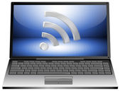 Laptop with wireless WiFi wlan symbol — Stock Photo