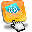 E-Mail Button with Cursor — Stockfoto