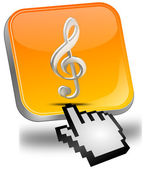 Music Button with cursor — Stockfoto