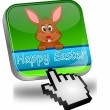Stock Photo: Easter bunny wishing happy easter button with cursor