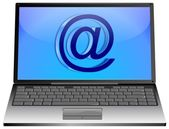 Laptop Computer with E-Mail Button — Stock Photo