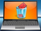 Laptop with rubbish bin — Stock Photo