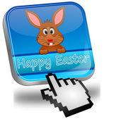 Easter bunny wishing happy easter button with cursor — Stock Photo