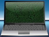 Laptop with binary code — Stock Photo