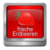 Button fresh strawberry - in german — Stock Photo