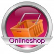 Button online shop with shopping basket — Stock Photo #27157025