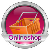 Button online shop with shopping basket — Stock Photo