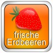 Button fresh strawberry - in german — Stock Photo