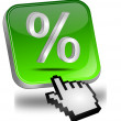 Discount button with percent symbol and cursor — Stock Photo