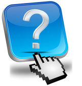 Button with question mark with cursor — Stock Photo