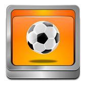 Botão com bola de futebol — Fotografia Stock