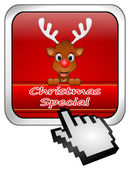 Button Christmas Special with reindeer and Cursor — Stock Photo
