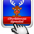Button Christmas Special with reindeer and Cursor — Foto de Stock